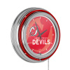 NHL Chrome Double Rung Neon Clock - Watermark - New Jersey Devils?