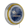 NHL Chrome Double Rung Neon Clock - Watermark - Nashville Predators?
