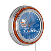 NHL Chrome Double Rung Neon Clock - Watermark - New York Islanders?