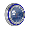 NHL Chrome Double Rung Neon Clock - Watermark - Toronto Maple Leafs?