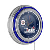 NHL Chrome Double Rung Neon Clock - Watermark - Winnipeg Jets™