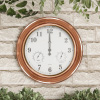 Indoor Outdoor 18? Wall Clock - Waterproof Thermometer and Hygrometer by Earth Worth ? Copper Finish