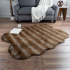 Sheepskin Area Rug ? Faux Sable Fur 4x5-Foot High Pile Throw Rug ? Ombre Brown Plush Mat for Bedroom, Living Room, Den & Office by Lavish Home