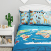 World Map 3 Piece Quilt Set-Twin XL Bedding & 2 Pillow Shams-Hypoallergenic Microfiber-Animals & Landmarks of the Continents & Oceans Bedspread by LHC