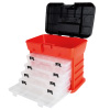 Storage and Toolbox- Durable Organizer Utility Box with 4 Compartments for Hardware, Fish Tackle, Beads, and More by Stalwart (Red)