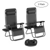 Zero Gravity Lounge Chairs- Set of 2- Black Folding Anti-Gravity Recliners- Side Table, Cup Holder & Pillow-For Outdoor Lounging by Lavish Home