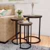 Round Nesting Tables-Set of 3, Modern Woodgrain Look with Black Base for Living Room Coffee Tables or Nightstands-Accent Home Furniture by Lavish Home