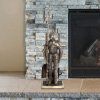 3-Piece Fireplace Tool Set- Medieval Knight Cast Iron Statue Holds Heavy Duty Essential Tools - Includes Shovel, Broom & Poker by Lavish Home