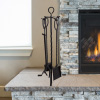 5-Piece Fireplace Tool Set- Black Wrought Iron Scroll Design-Holds Heavy Duty Essential Tools-Includes Shovel, Broom, Tongs & Poker by Lavish Home