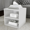 End Table ? Stackable Contemporary Minimalist Modular Cube Accent Table Double Shelves for Bedroom, Living Room or Office by Lavish Home (White)