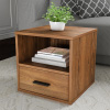 End Table ? Stackable Contemporary Minimalist Modular Cube Accent Table with Drawer for Bedroom, Living Room or Office by Lavish Home (Brown)