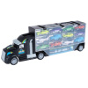 Car Carrier Semi Truck Toy - 2-Sided Cargo Trailer Holds 24 Vehicles- Includes 10 Cars and 2 Helicopters ?Storage Case with Carry Handle by Hey! Play!
