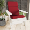 High-Back Patio Chair Cushion? For Outdoor Furniture, Adirondack, Rocking or Dining Chairs? Red Mildew & UV Resistant Fabric with Piping & Ties by LHC