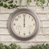 Indoor Outdoor 18? Wall Clock - Waterproof Thermometer and Hygrometer by Earth Worth ? Brushed Silver
