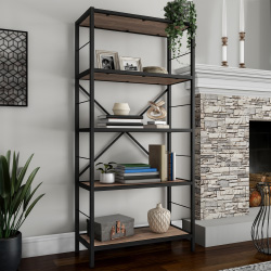 5-Tier Bookshelf - Open Industrial Style Etagere Wooden Shelving Unit - Rustic Decoration for Storage and Display by Lavish Home (Brown Woodgrain)