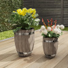 Fiber Clay Planter Set ? 2-Piece Barrel Shaped Pots with Metal Trim, a Wood Look and Drainage Holes for Herbs and Flowers by Pure Garden (Dark Gray)