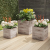 Square Fiber Clay Planter Set ? 3-Piece Varying Height Rustic Wood Look Pots with Drainage Holes for Herbs, Plants or Flowers by Pure Garden (Lt Gray)
