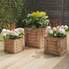 Square Fiber Clay Planter Set ? 3-Piece Varying Height Rustic Wood Look Pots with Drainage Holes for Herbs, Plants or Flowers by Pure Garden (Brown)
