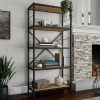 5-Tier Bookshelf- Open Industrial Style Etagere Wooden Shelving Unit-Rustic Decoration, Storage and Display in Any Room by Lavish Home (Oak Woodgrain)