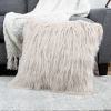 22-Inch Plush Pillow ? Luxury Square Floor Pillow Insert and Shag Glam Cover Set? For Bedroom or Living Room by Lavish Home (Ivory)
