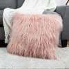 22-Inch Plush Pillow ? Luxury Square Floor Pillow Insert and Shag Glam Cover Set? For Bedroom or Living Room by Lavish Home (Pink)
