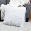 22-Inch Plush Pillow ? Luxury Square Floor Pillow Insert and Shag Glam Cover Set? For Bedroom or Living Room by Lavish Home (White)