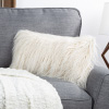 12x20? Plush Lumbar Pillow ? Luxury Accent Pillow Insert and Shag Glam Cover Set? For Bedroom or Living Room by Lavish Home (Ivory)