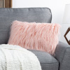 12x20? Plush Lumbar Pillow ? Luxury Accent Pillow Insert and Shag Glam Cover Set ? For Bedroom or Living Room by Lavish Home (Pink)