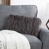 12x20? Plush Lumbar Pillow ? Luxury Accent Pillow Insert and Shag Glam Cover Set ? For Bedroom or Living Room by Lavish Home (Gray)