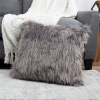 22? Plush Pillow ? Luxury Square Accent Pillow Insert and Shag Glam Cover Set ? For Bedroom or Living Room by Lavish Home (Gray)