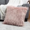 22? Plush Pillow ? Luxury Square Accent Pillow Insert and Shag Glam Cover Set ? For Bedroom or Living Room by Lavish Home (Pink)
