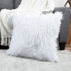 22? Plush Pillow ? Luxury Square Accent Pillow Insert and Shag Glam Cover Set? For Bedroom or Living Room by Lavish Home (White)