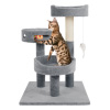 3-Tier Cat Tower- 2 Carpeted Napping Perches, Sisal Rope Scratching Post, Hanging Mouse, and Interactive Cheese Wheel Toy by PETMAKER (Gray)