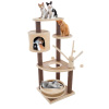 6-Tier Cat Tower- Cushioned Pet Bed, Napping Perches, Kitty Condo Hut, and Spring Arms with 3 Hanging Toys ? Fully Carpeted by PETMAKER (Brown/Beige)