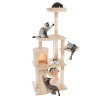 4-Tier Deluxe Cat Tower- Large Scratching Board, 6 Scratch Posts, Napping Perches, Kitty Condo Hut, 2 Hammocks and Hanging Toys by PETMAKER (Beige)
