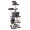 5-Tier Ultimate Cat Condo Tower- 8 Scratching Posts, 2 Padded Perches, 2 Kitty Huts, and 3 Hanging Toys for Multiple Cats by PETMAKER (Dark Gray)