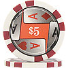 11.5g 4 Aces Poker Chip $5 - CLOSEOUT